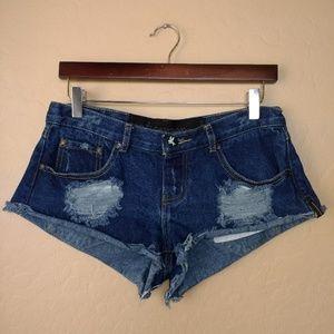 One Teaspoon Distressed Cut Off Denim Shorts